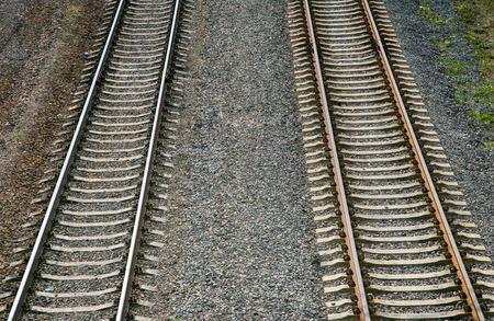 straightforward: Straightforward, railroad tracks, gravel, realistic rusty rails, fasteners