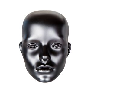 mannequin head: mannequin head, black, closeup, white background, isolated Stock Photo