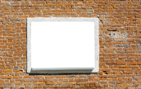 rural development: close-up of a window on an old brick wall. background, texture