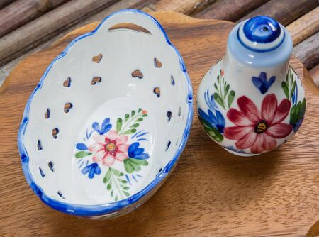 delftware: basket, salt, Delftware from Holland. close-up Stock Photo