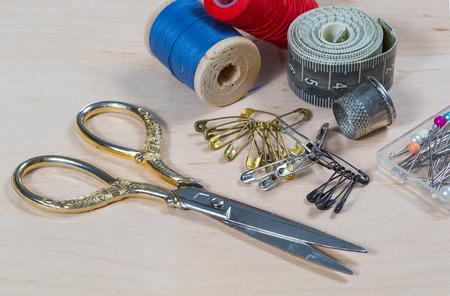 Still life with scissors thread pins. tool tailor.
