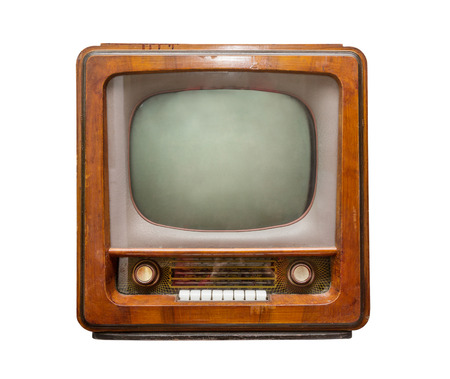 retro tv: old brown TV front view. retro Style