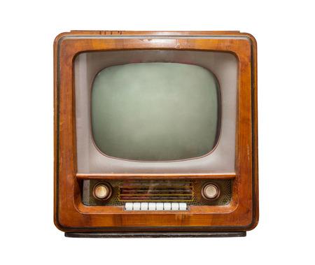 television antigua: viejo vista frontal del televisor de color marrón. Estilo retro Foto de archivo