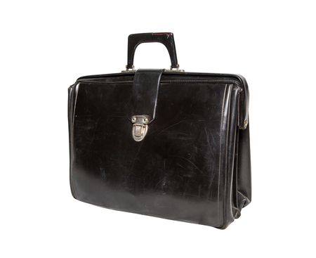 black briefcase: Old black briefcase on a white background. side view, isolated