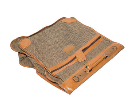 opened bag: Case for clothes on a white background. Brown color. trip journey. isolated