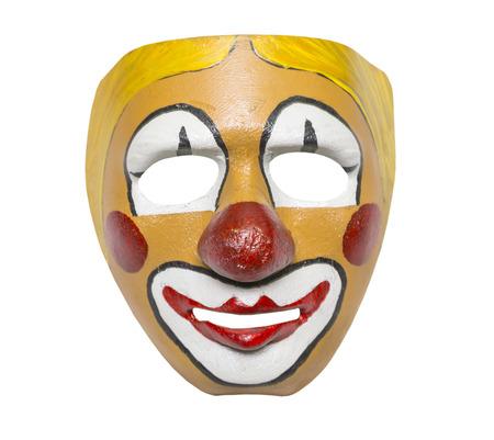 payaso: máscara antigua, estilo retro sobre un fondo blanco, aislado