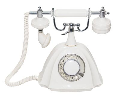 ancient telephone: The classic old white phone. Retro. isolated. close-up. white background
