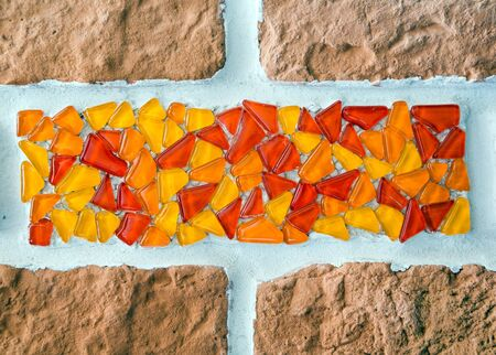 glass brick: fragment of a mosaic of glass and brick wall. background interior. closeup Stock Photo