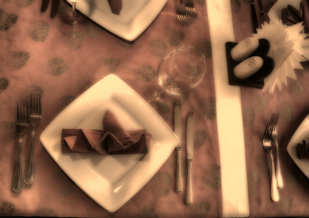 banquet table, cutlery, plates, china, napkins. Celebration, moiety. old photo processing, stylization Stock fotó