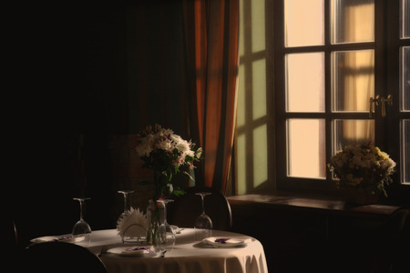 The classic interior of the cafe. morning, the light in the window. photo in old style image