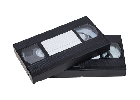 videocassette: Two videocassette close-up on a white background. old, record sound and images
