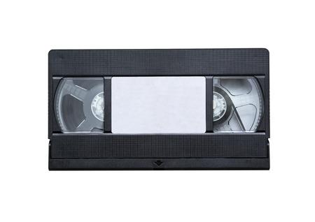 videocassette: cinta de vídeo de cerca sobre un fondo blanco. viejo, grabar sonido e imágenes