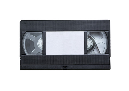 videocassette: videocassette close up on a white background. old, record sound and images Stock Photo