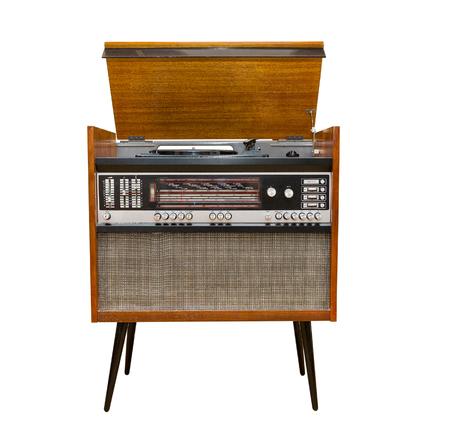hinged: old Soviet turntable, radio. retro, fashion. hinged lid. isolated Stock Photo