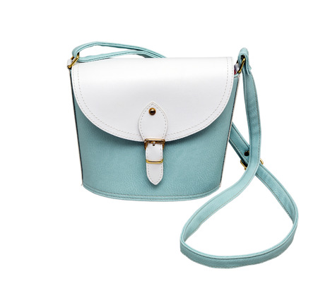 personal shopper: bags, turquoise, woman, glossy, leather, isolated, white, background Stock Photo