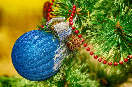 oldstyle: New Year, Christmas decorations on fir branches, Christmas toys, retro, vintage, old-style photo