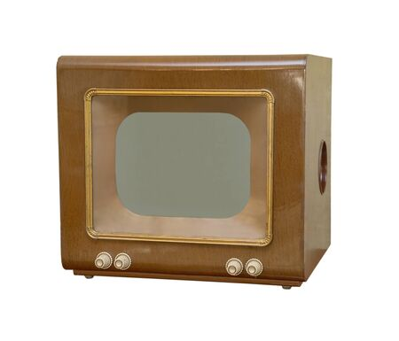 retro tv: old brown TV, front view. retro Style