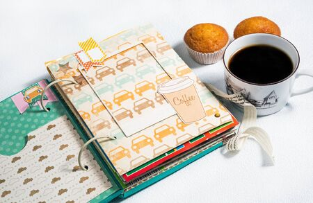 muffins: scrapbooking, photo album handmade cup of coffee with muffins on a white background