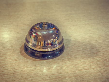 call bell: Old Desktop Call Bell, Hotel reception, retro style, vintage