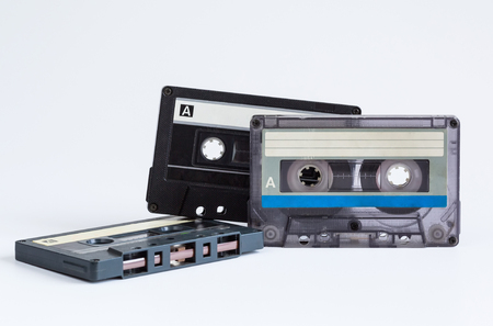 audio cassette: audio cassette close-up on a white background, sound recording and music Stock Photo
