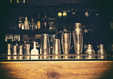 martini shaker: cocktail shaker, bartender tools, a set of equipment, bar, retro