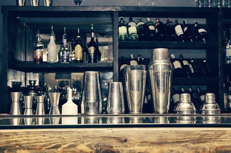 bar tool set: cocktail shaker, bartender tools, a set of equipment, bar, retro