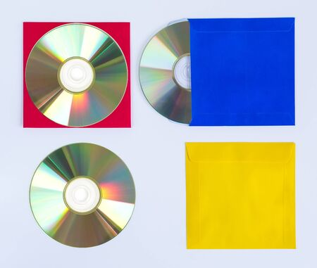 CDs  DVDs isolated on white background, technologies