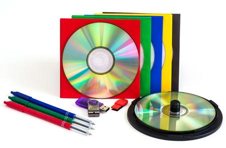 disks: CDs  DVD, envelopes for disks on white background, technologies Stock Photo