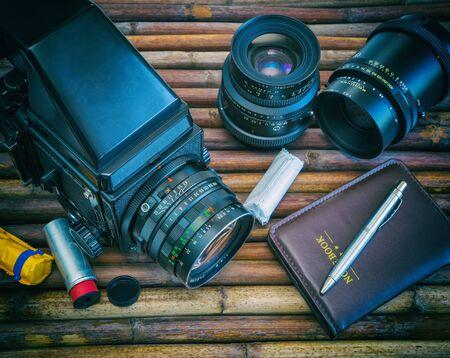 analog camera: Medium format analog camera, two Lenses, Photo Equipment
