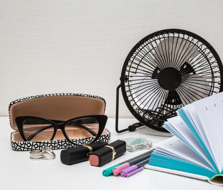 necessities: business essentials at the office, overhead business woman accessories Stock Photo