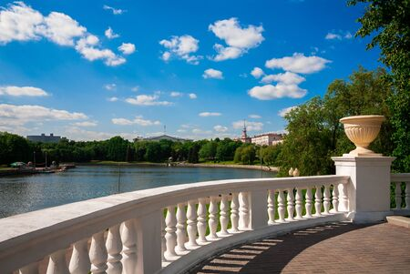 svisloch: View on the citys waterfront Svisloch River and the Kommunisticheskaya street in Minsk, Belarus. Stock Photo