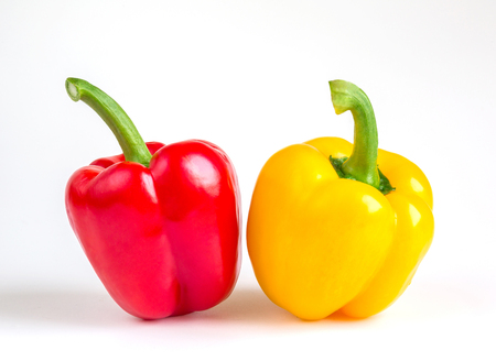 power food: Healthy food from the village. power concept Eco. Fresh organic vegetables pepper on white background Stock Photo