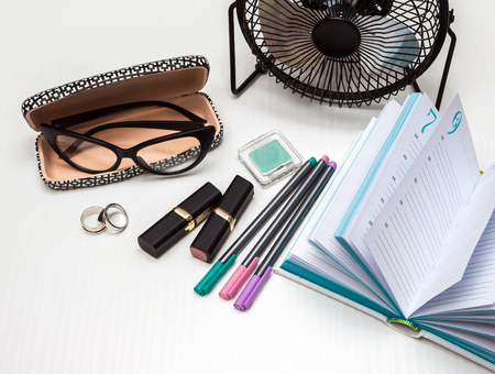 necessities: business essentials at the office, overhead business woman, accessories