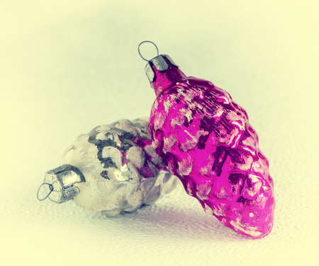 Old-fashioned Christmas tree decorations: cones, glass