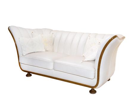 white sofa: classic elegant sofa isolated on white background, furniture, retro, Stock Photo