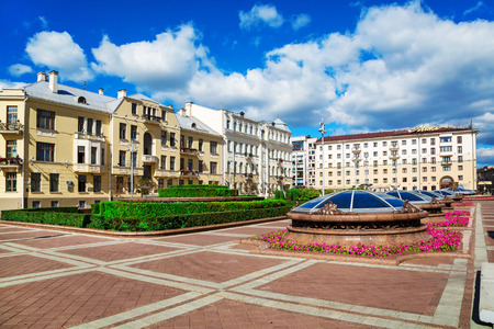 Soviet-built building on Sovetskaya Street in Minsk. Independence Square, August 25, 2016