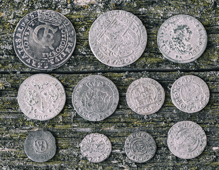 numismatic: old money of the Grand Duchy of Lithuania, Poland, Belarus, tymf, coins, metal, retro style, selective focus Stock Photo
