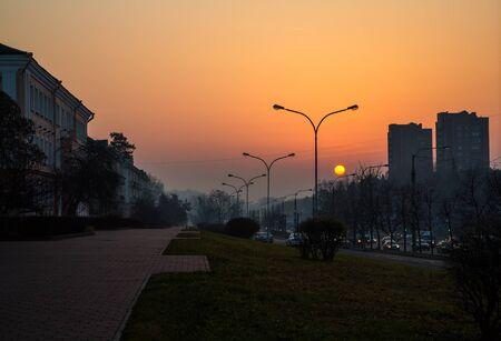 partisan: Belarus, Minsk Partisan Avenue at dawn panorama of the city 11.11.2014goda, editorial