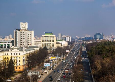 postwar: Minsk, Belarus, traffic on Independence Avenue March 11, 2015, urban architecture, top view, editorial Editorial