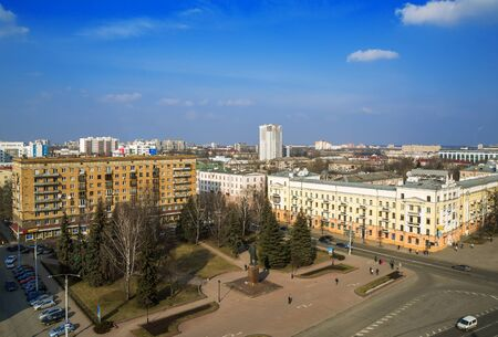postwar: Minsk, Belarus, traffic on Independence Avenue, the area of Kalinin March 11, 2015, urban architecture, top view, editorial