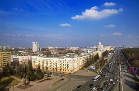 minsk: Minsk, Belarus, traffic on Independence Avenue, the area of Kalinin March 11, 2015, urban architecture, top view, editorial