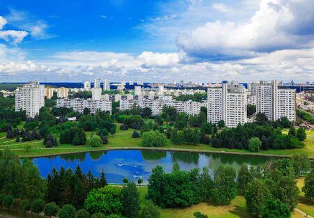vostok: Minsk, Belarus, architectural complex Vostok, Filimonov Street July 21, 2014, urban architecture, top view, editorial
