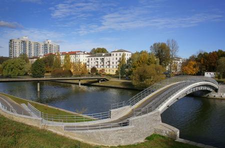 svisloch: Belarus, Minsk, Lenin Street, the bridge over the river Svisloch, October 13, 2010, editorial
