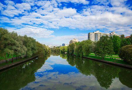 svisloch: Belarus, Minsk, Svisloch, cityscape, architecture, September 6, 2014, editorial Stock Photo