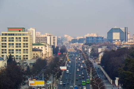 era: Minsk, Belarus, traffic on Independence Avenue, the National Library March 11, 2015, urban architecture, top view, editorial