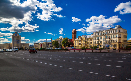 Beautiful cityscape, Independence Square, Church of St. Simon and Elena, 25082016 Belarus, Minsk, editorial