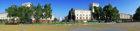 Minsk, Belarus, Yakub Kolas Square, a monument in honor of the national poet, 26 May 2011, urban architecture, editorial