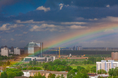 minsk: Minsk, Belarus, Independence Avenue, the National Library on the background of the rainbow, on May 25, 2011, urban architecture, top view, editorial