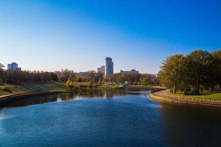 svisloch: Minsk, Belarus, autumn view of the Pobediteley and river Svisloch, 18102016 Editorial