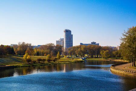 svisloch: Minsk, Belarus, autumn view of the Avenue Pobediteley and river Svisloch, 18102016 Editorial